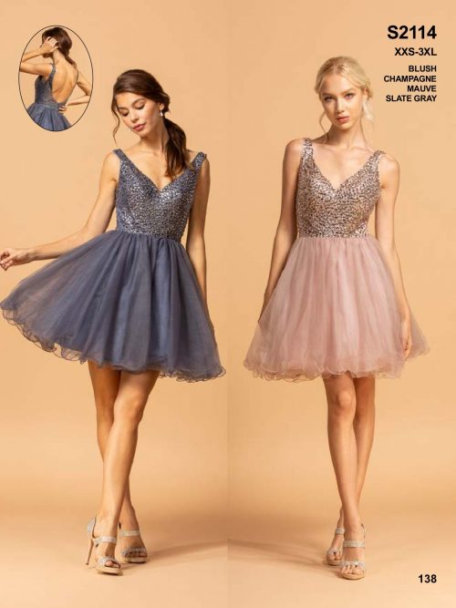 Young models wearing a Aspeed Design Dress Style S2114 in Mauve. V Neck bodice with crystal embellishment tops a full tulle skirt with scalloped edge from Prom Dress specialists Silhouette London