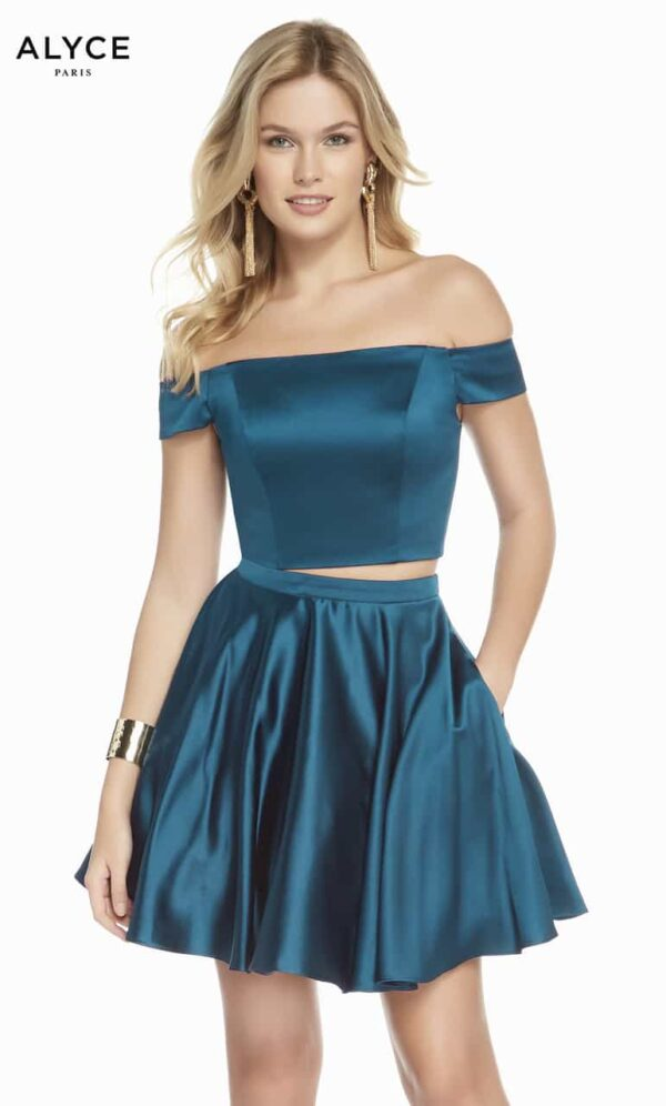 Blonde women wearing a Alyce Paris Dress Style 1462. Fabulous Luxe Satin Bardot style two piece with skater skirt from Silhouette London, Party Dress specialists in London