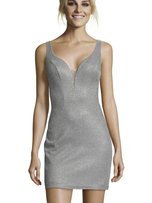 Young women wearing a Alyce Paris Dress Style 1480 in Silver. Shimmer dress with fabulous criss cross back detail and shallow plunge neckline from Silhouette London, Party Dress Specialists in London