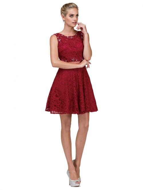 Young woman wearing a Dancing Queen Dress Style 2053 in Burgundy. Gorgeous lace and mesh illusion two piece with lace back and skater skirt from Prom Dress Boutique Silhouette London.