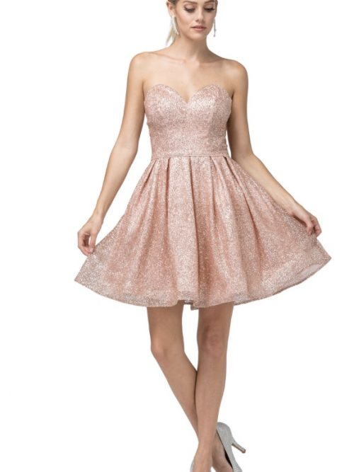 Young women wearing a Dancing Queen Dress Style 3106 in Rose Gold. Fabulous glitter shimmer in rose gold makes up this stunning sweetheart strapless skater dress from Silhouette London, Party dress specialists in London