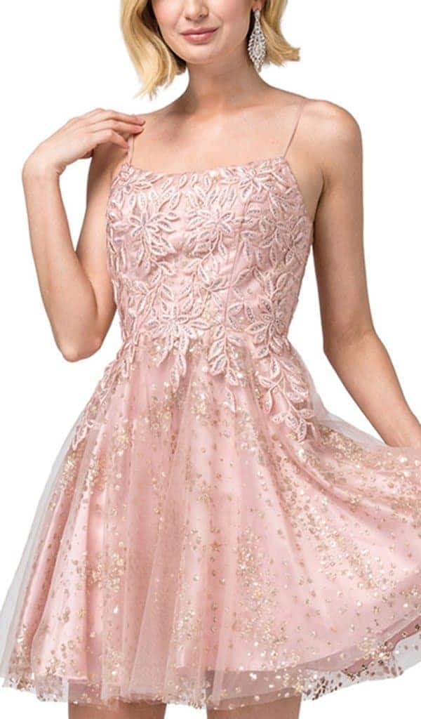 Young women wearing a Dancing Queen Dress Style 3158 in Blush Pink. Wonderful embroidered bodice tops this full glitter tulle skirt from Prom Dress Boutique Silhouette London.