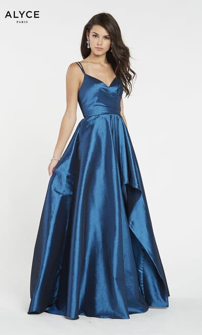 Young women wearing a Alyce Paris Dress Style 60094 in Royal Blue with spaghetti straps and a stunning open back from Prom Dress Specialists Silhouette London.