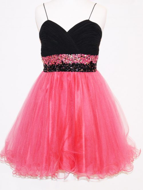 Pre-Loved' Yasmin Party Dress in Black and Coral with ruched, embellished sweetheart neckline and full tulle skirt with scalloped edge from Silhouette London, Girls Party Dress Specialists in London