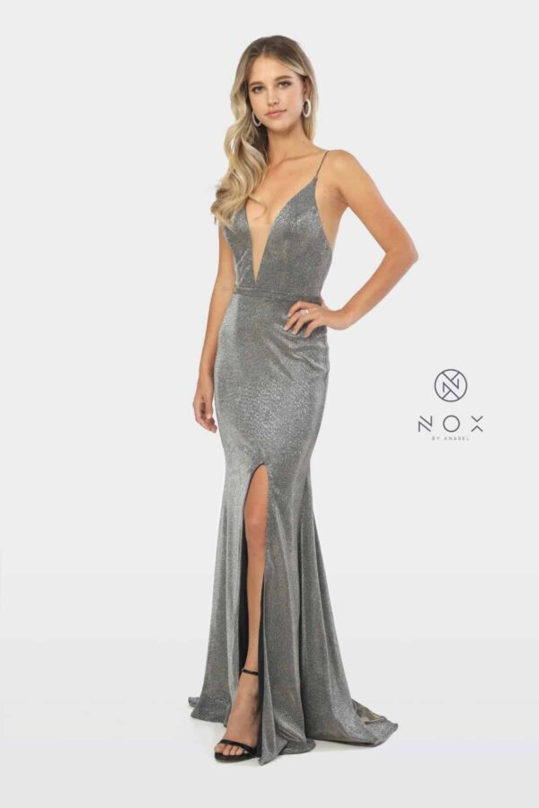 Young women wearing a Nox Anabel Dress Style C238 Fabulous shimmery crepe long dress with plunge neckline and side split from Prom dress specialist Silhouette London
