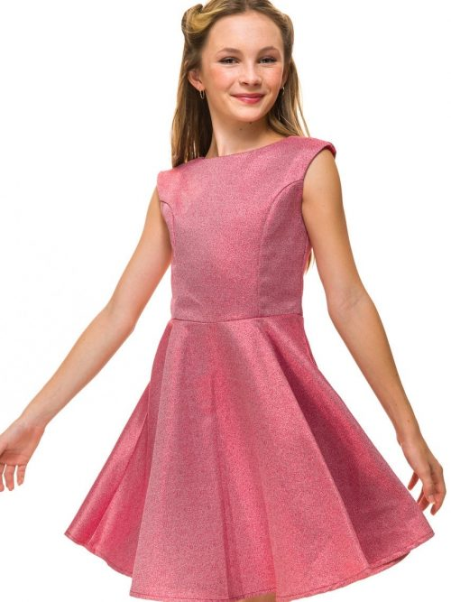 Young girl wearing a Un Deux Trois Cap Sleeve Glitter Dress in Red. Stunning Red Shimmer material makes up this beautiful cap sleeve skater dress from Silhouette London, Girls party dress specialists in London.