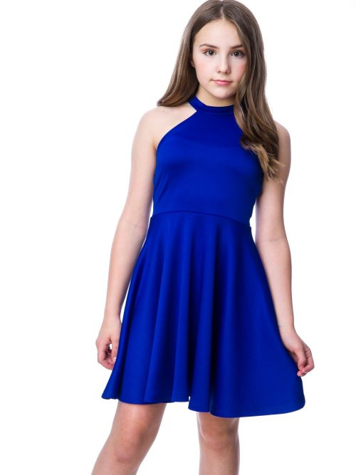 Young girl wearing a Un Deux Trois Halter Scuba Dress in Cobalt Blue from Silhouette London, Girls party dress specialists in London