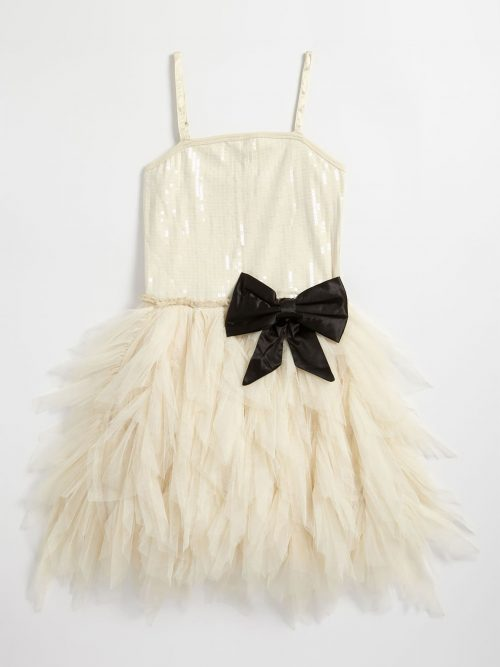 Ooh la la Couture Wow Emma Dress. Sequin tank top bodice with jersey racer back, fabulous tiered tulle skirt and contrasting bow at the waistband from Silhouette London, Girls party dress specialists in London