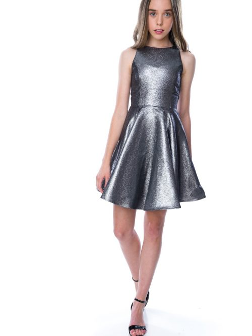 Young teenager wearing a Un Deux Trois Grey Shimmer Dress Silhouette London, Girls party dress specialists in London