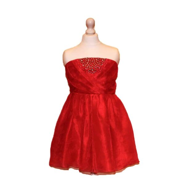 'Pre-Loved' Hot Pink Party Dress with pleated bodice with crystal embellishment from Silhouette London, Girls party dress specialists in London.