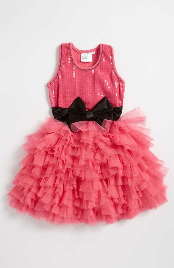 Ooh la la Couture Wow Dream Dress. Gorgeous sequin tank top bodice with jersey racer back, tiered tulle skirt and contrasting bow from Silhouette London, girls party dress specialists in London
