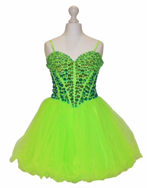 'Pre- Loved' Sherri Hill Party Dress in Lime Green, from Silhouette London, Girls Party Dress specialist in London