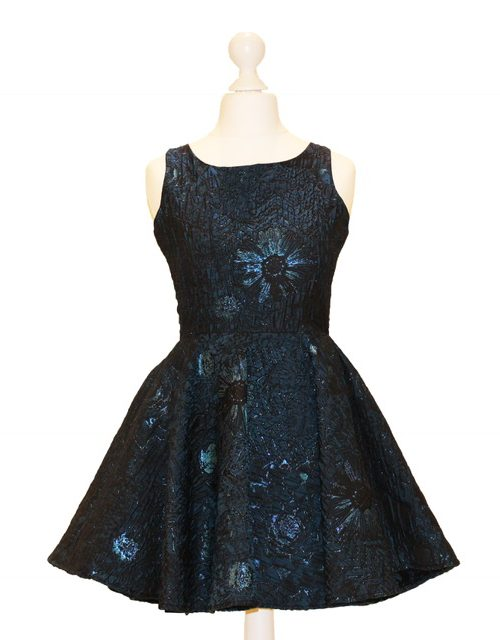'Pre-Loved' By Debra Jacquard Dress with Skater Skirt and Keyhole Back Detail. Gorgeous in shimmery Teal from Silhouette London, Specialist Dress Boutique in London