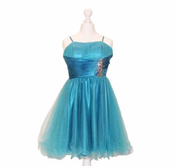 'Pre- Loved' Gino Cerruti Dress. Satin waistband, satin spaghetti straps and stunning crystal embellishment from SIlhouette London, Prom dress specialists London