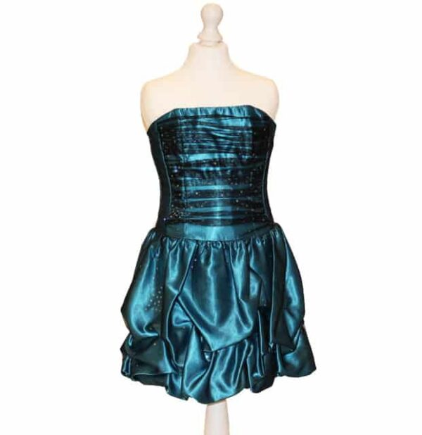'Pre-Loved' Jessica Mcklintock Dress. Teal taffeta with black tulle overlay. Ruched strapless bodice and pick up skirt from Silhouette London, Party dress specialists in London