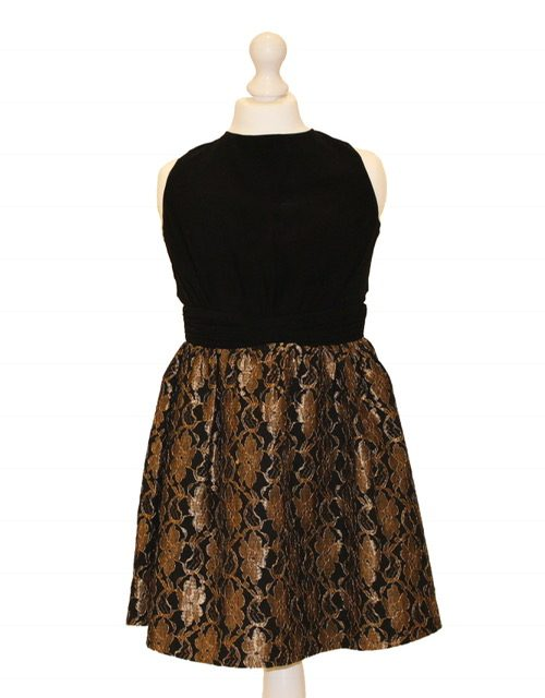 'Pre-Loved' Little Mistress Dress in Black and Gold. Fabulous Little Mistress party dress with black blouson top and skater black and gold skirt from Silhouette London, Party dress specialists London
