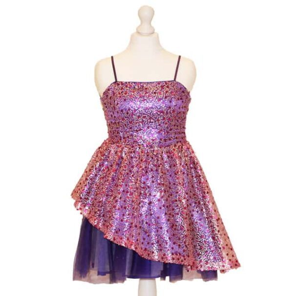 'Pre-Loved' Un Deux Trois Peekaboo Dress. Fuschia and Purple sequin Peekaboo dress with purple satin waistband and purple tulle peekaboo tulle on the skirt from Silhouette London, Girls Dress specialist in London