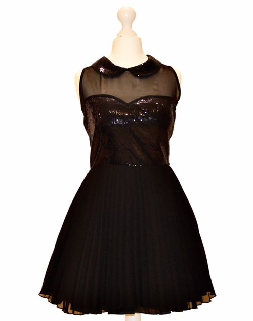 'Pre-Loved' Jones and Jones Skater Dress in Black. Jones and Jones chiffon short pleated skater dress with sequin and chiffon bodice from Silhouette London, Specialist Dress Boutique in London