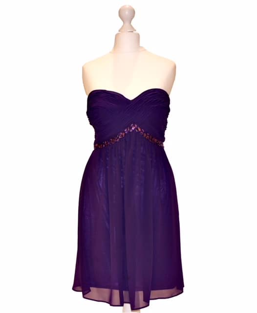 'Pre-Loved' Pink Label Dress in Purple. Strapless Chiffon Dress with beaded waistband and ruched bodice from Silhouette London, Prom Dress specialists in London