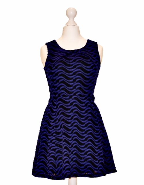 'Pre-Loved' Elisa B Skater Dress in Royal Blue and Black with a shimmery thread weaved through from Silhouette London, Dress specialists in London