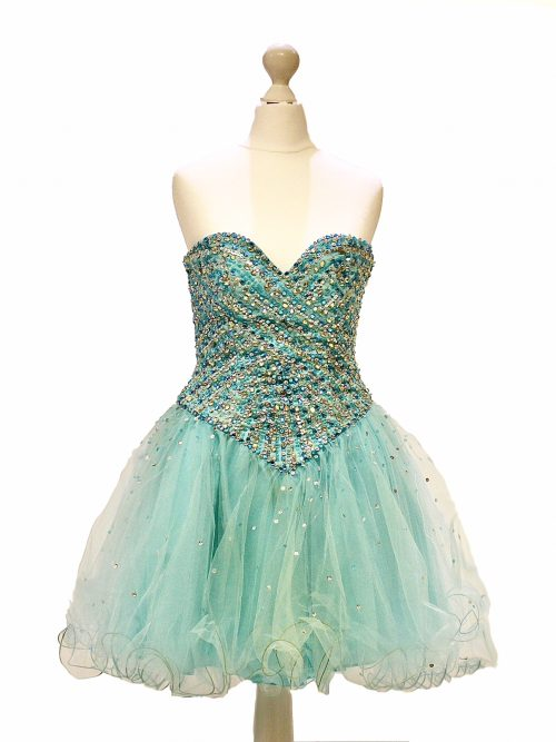 'Pre-Loved' Mori Lee Prom Dress Turquoise Tulle with gorgeous crystal embellishment and corset tie back from Prom Dress Specialists Silhouette London