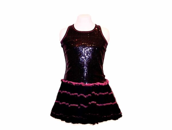 'Pre-Loved' Ooh La La Couture Dress in Black Sequin and full tulle skirt all with hot pink trim from Silhouette London, Girls party dress specialists in London