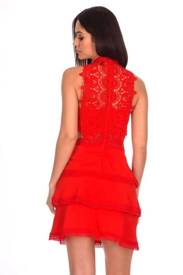 Red Crochet Skater Dress back