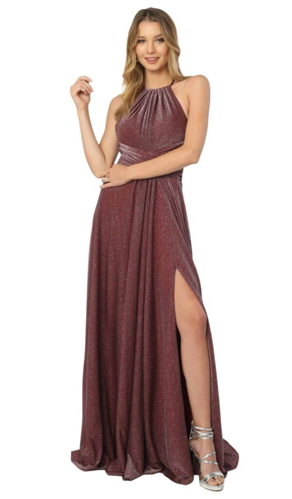 Young women wearing a Nox Anabel Dress Style E184 in Burgundy. Soft shimmer jersey with a ruched halter neck bodice and ruched waistband from Prom dress specialist Silhouette London