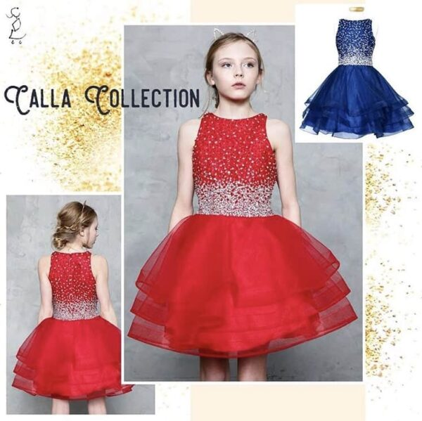 Young girl wearing a Calla Collection Dress TY008 in red. Gorgeous red sequin and crystal embellished bodice with a concealed zip fastening at the back and a full banded tiered tulle skirt from Silhouette London, Girls party dress specialists in London