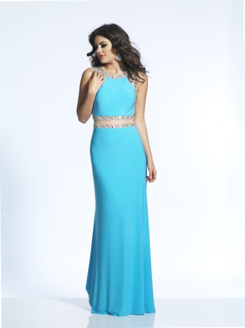 Brunette teenage girl wearing a Dave and Johnny Dress Style 1442 in Turquoise from from Prom Dress Boutique Silhouette London.