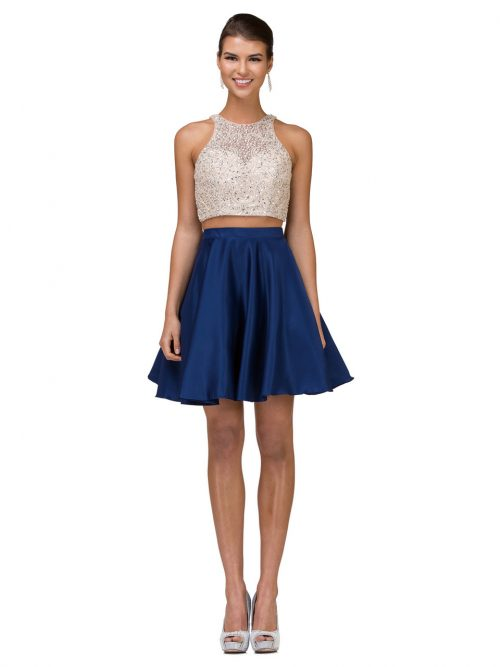 Teenage model wearing a Dancing Queen Style 2027 in Champagne/Navy. Stunning crystal embellished halter neck top with satin skater skirt from Silhouette London, Girls party dress specialists in London