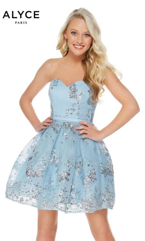 Alyce Paris Dress Style 2650 in Light Blue & Silver   Silhouette London