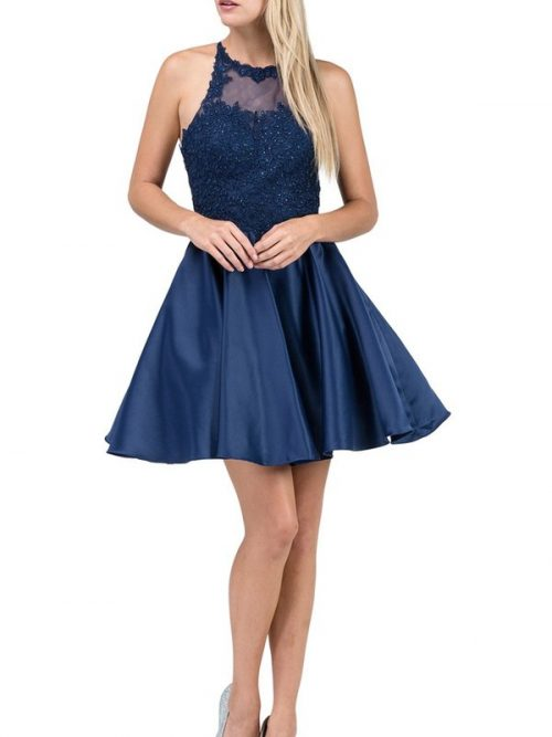 Blonde teenage girl wearing a Dancing Queen Dress Style 3028 in Navy. Lace halter neck bodice tops a full satin skirt with criss cross back from Specialist Dress Boutique Silhouette London