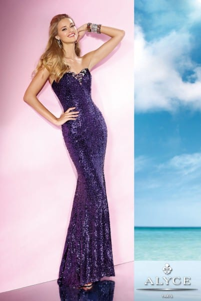 Young woman wearing an Alyce Paris Long Prom Dress Style 35627 in purple sequins from Silhouette London a Prom Dress Specialist Boutique in Greater London