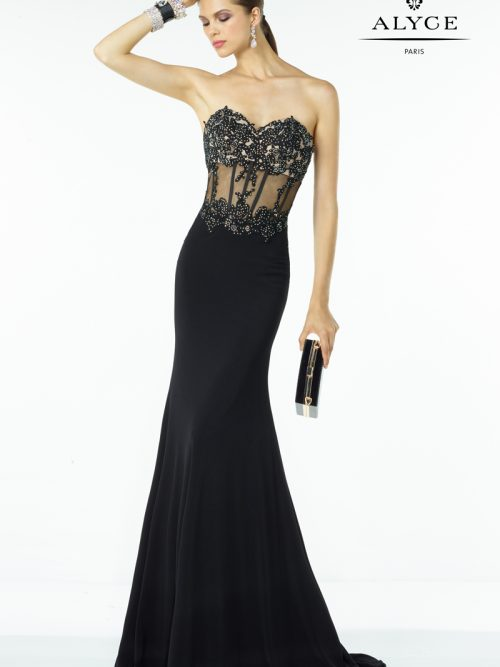Young women wearing an Alyce Paris Dress Style 35788 shown in Black. Floor length dress with lace appliques from Prom Dress Boutique Silhouette London.