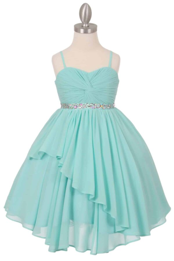Cinderella Couture Dress Style 5005 in Aqua. Fabulous pleated chiffon pleated bodice and layered skirt with beautiful crystal belt from Silhouette London, Girls party dress specialists in London.