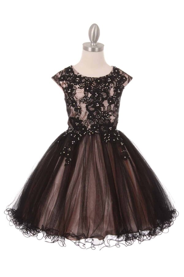 Cinderella Couture Style 5045 in Black and Blush Pink. Cap sleeve embellished lace bodice with concealed zip fastening at the back and a full two tone scalloped edge tulle skirt from Silhouette London, Girls party dress specialists in London.