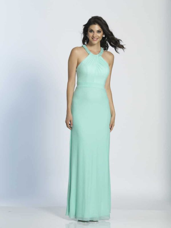 Young model wearing a Dave and Johnny Dress Style A5057 in Aqua. Beautiful jersey pleated halter neck number with stunning back detail and beaded neckline from Prom Dress Boutique Silhouette London.