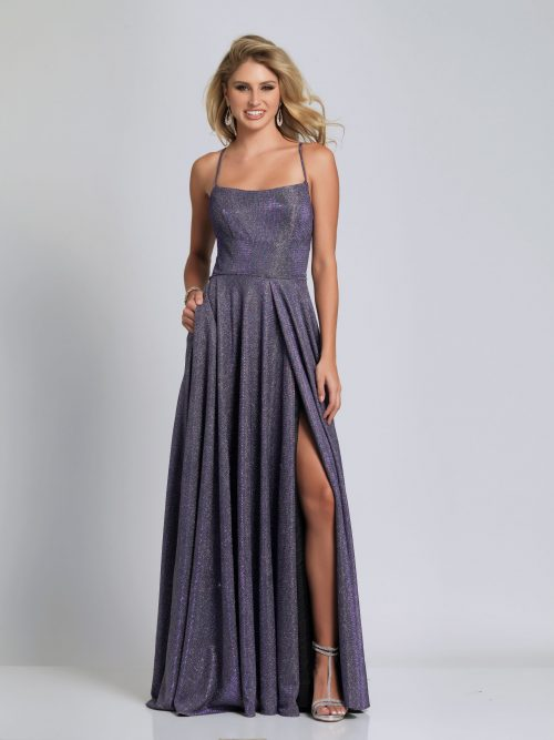 Young woman wearing Dave and Johnny Long Prom Dress Style A6933 in Lavender Shimmer from Prom Dress Boutique Silhouette London.