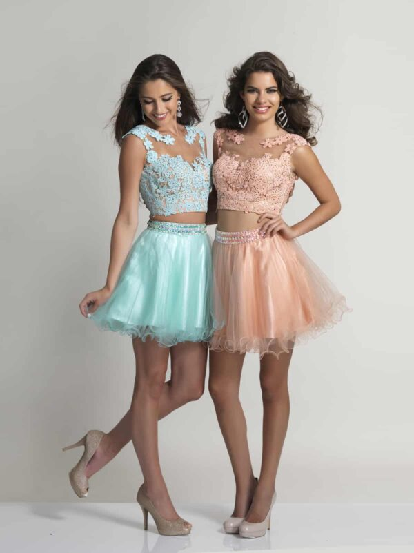 Young ladies wearing a Dave and Johnny Dress Style 784 in Blush. Two piece with embellished lace top with back detail and gorgeous tulle skater style skirt from Silhouette London, Girls party dress specialists in London.
