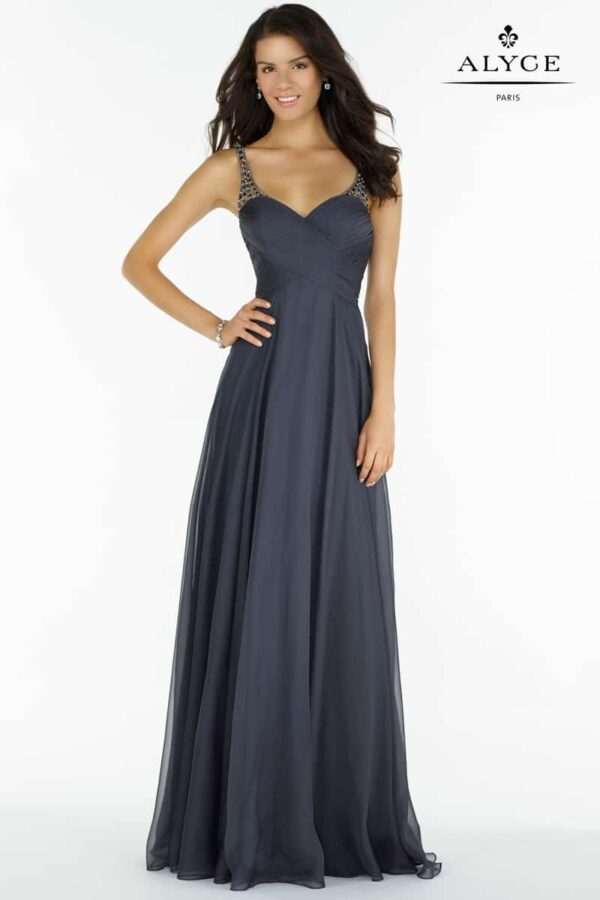Young women wearing a Alyce Paris Prom Dress 8023 in Charcoal. Silky chiffon gown with a ruched bodice, sweetheart neckline, embellished straps from Prom Dress Boutique Silhouette London.