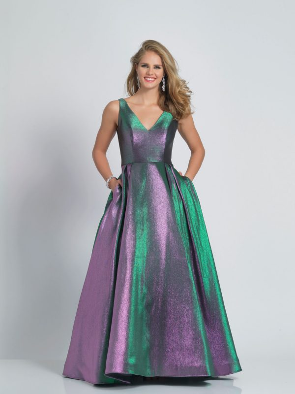 Young Woman wearing Dave and Johnny Long Prom Dress Style A9107 Purple shimmer from Prom Dress Boutique Silhouette London.