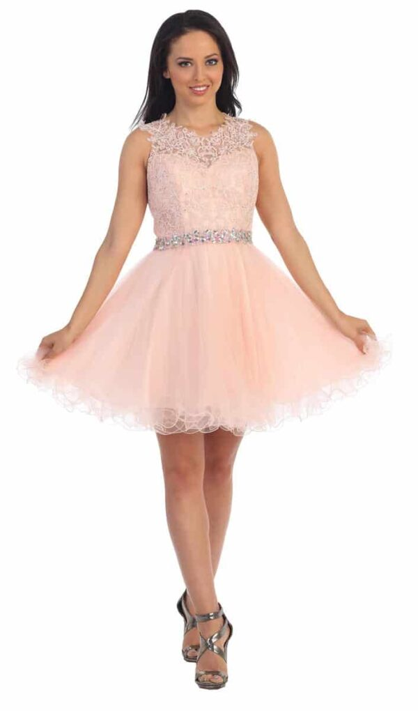 Young women wearing a Dancing Queen Dress Style 9159 in Pink. full lace and crystal bodice with keyhole detail at the back and full tulle skirt from Prom Dress Boutique Silhouette London