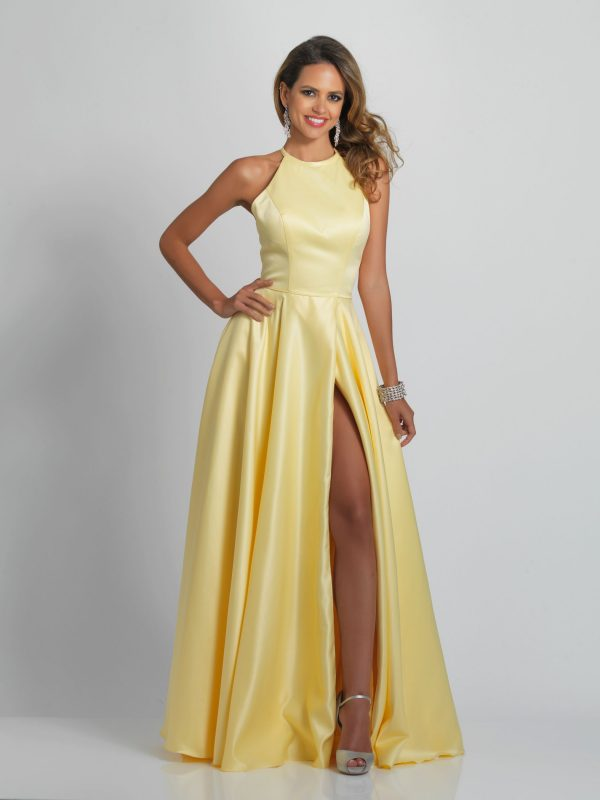 Young Woman wearing Dave and Johnny Long Prom Dress Style A9195 in Red heavy satin with halter neck bodice and criss cross back from Prom Dress Boutique Silhouette London.