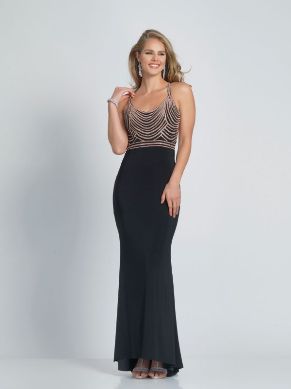 Young Woman wearing Dave and Johnny Prom Dress Style A9316 in Black with gold embellishment on the bodice and criss cross back from Prom Dress Boutique Silhouette London