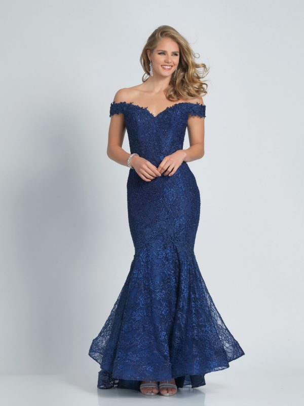 Young Woman Wearing Dave and Johnny Long Prom Dress Style A9364 Off the Shoulder lace mermaid dress in Navy from Prom Dress Boutique Silhouette London