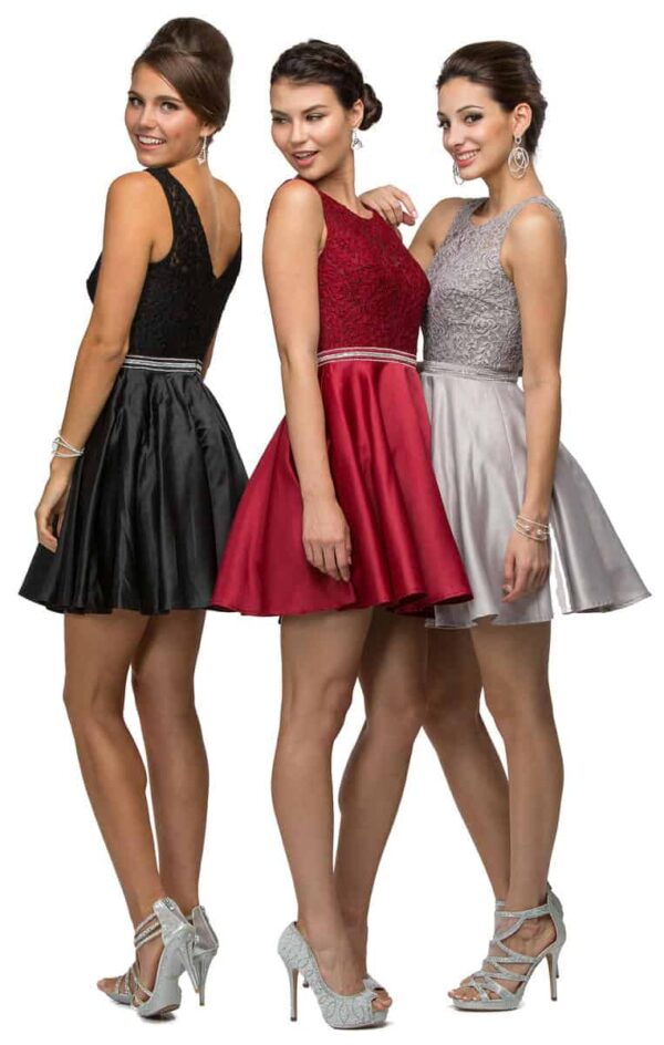Brunette models wearing DQ Dress Style 9503. Fabulous lace bodice with stunning V back, embellished waistband and satin skater skirt from Specialist Dress Boutique Silhouette London.