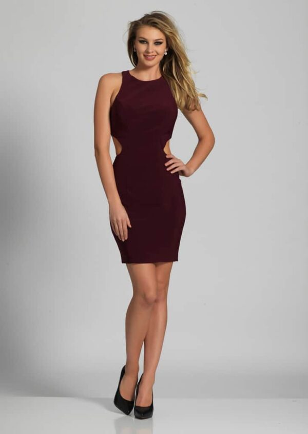 Teenage girl wearing a Dave and Johnny Style A5387 in Wine. Stunning, fully lined Jersey bodycon dress with ladder detail at the back and cut out detail on the sides from Silhouette London, Girls party dress specialists in London.