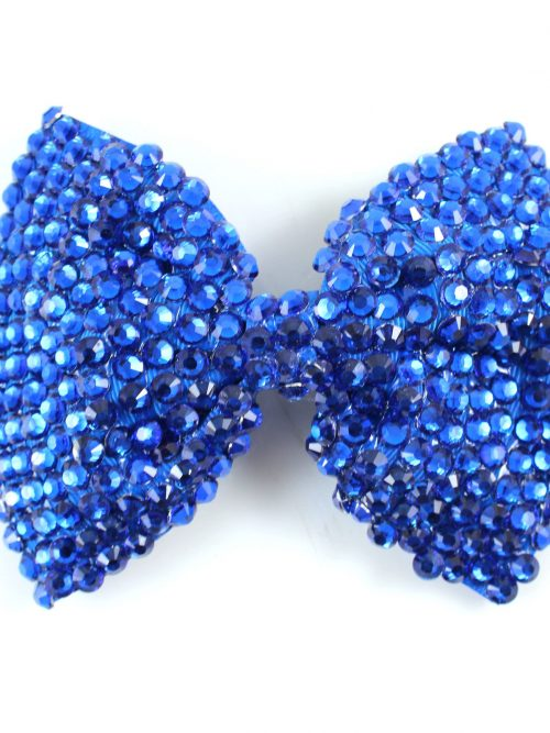 Crystal Bow in Royal Blue Fabulous Large bowband in royal blue with matching royal blue crystals on a silver clip from Silhouette London