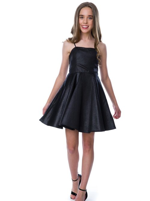Teenage Girl wearing anUn Deux Trois Black Shimmer Party Dress with spaghetti straps and skater skirt from Silhouette London, a specialist Batmitzvah Dress Boutique in Greater London